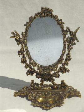 vintage-gilt-brass-mirror-vanity-stand-ornate-fairy-tale-gold-oval-frame-Laurel-Leaf-Farm-item-no-u71654t